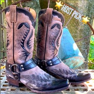 STETSON Outlaw Biker Moto Distressed Leather Boots